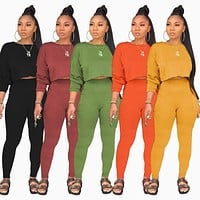 Women Casual Solid Color Two Piece Long Sleeve Crop Top Pant Set