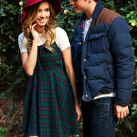 Green Flannel Fit and Flare Dress