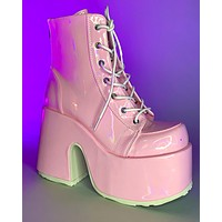 Demonia Holo Pink Lace-Up Ankle Boot