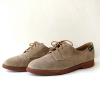 Vintage brown suede oxfords. preppy lace up leather shoes. women's size 10