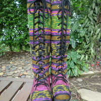 Vegan Womens Boots In Colorful Hand Woven Authentic Ikat Boho Boots Sadie