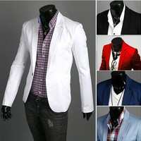 Single Button Leisure Blazers Men Male 2017 Blazers Fashion Slim Fit Casual Suit Red Navy Blue Dress Clothing New Arrival suit