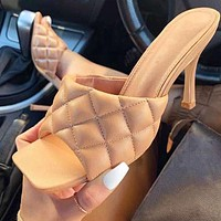 Summer Trending Women Pure Color Square Head High Heels Sandals Shoes