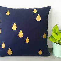 Custom Your Color. Gold Raindrops Navy Decorative Pillow Cover. 17inch Metallic Teardrops Pillow Case. Modern Rain Accents Pillow