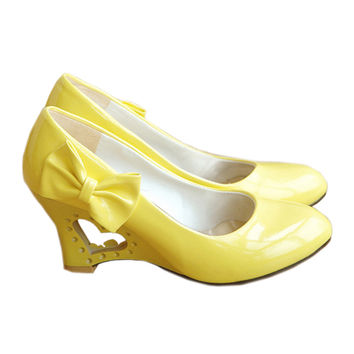 Candy's Color Bowknot Patent Leather Hollow Slipsole Women Thin Shoes  yellow