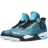 "Nike Mens Air Jordan 4 Retro 30th ""Teal"" Teal/White-Black Leather Basketball Shoes"