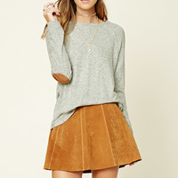 Marled Elbow-Patch Sweater