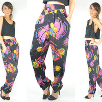 multi-colored ABSTRACT ART high waisted FRUITBOWL trousers pants, small