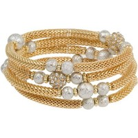 Heirloom Finds Gold Toned Mesh Bracelet Silver Toned Star Dust Beads and Crystal Rondelles Will Fit All