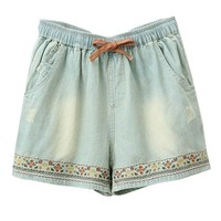 Faded Ethnic Embroidery Denim Shorts with Drawstring Waist