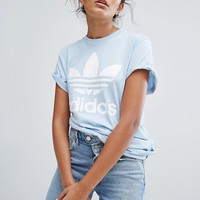 adidas Originals Blue Trefoil Boyfriend T-Shirt at asos.com