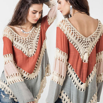 V-Neck Crochet Lace Bell Sleeve Blouse