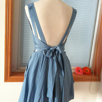 Vintage Cocktail Chiffon Knee Sundress Summer Dress Beach Dress Sleevesless Backless Open Back Prom Party Bridesmaid  Dress Bow Sash Blue