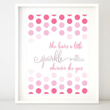 "Silver and pink quote print: "" She leaves a little sparkle wherever she goes "" girly printable art, silver foil and pink ombre print -ffp021"