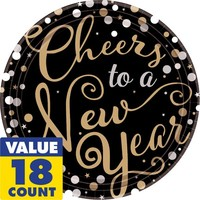 Cheers to a New Year Dinner Plates 18ct - Bubbly Celebration