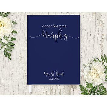 Wedding Guest Book, Hardcover, Modern Navy, Choice of Colors & Sizes
