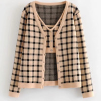 Autumn and winter explosion retro plaid cardigan two-piece