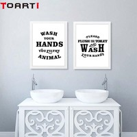 Flush Toilet Note Wash Your Hands Poster Black And White Modern Canvas Painting Wall Art Print Modular Wall Picture For Bathroom