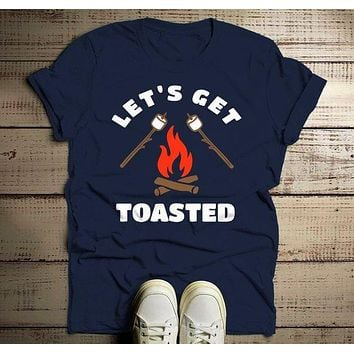 Men's Funny Bonfire T Shirt Let's Get Toasted Marshmallow Graphic Tee Camping Shirts