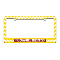 Cowgirl Inside - Cowboy Hat Horse - License Plate Tag Frame - Yellow Chevrons Design