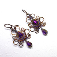 Purple Teardrop Copper Earrings, Soutache Styled Wire Wrapped Jewelry