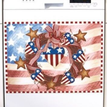 Patriotic Americana Dishwasher Magnet Art Independence Day 4th of July