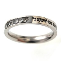 Christian Women's Stainless Steel Princess Cut I Know Jeremiah 29:11 Comfort Fit Girls Purity Ring
