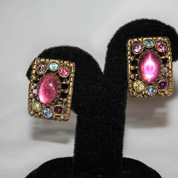 Vintage Pastel Rhinestone Clip On Earrings 1950s Estate Jewelry