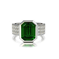 3.21ct Green tourmaline engagement ring, emerald cut, diamond ring, bezel engagement, unique, wide ring, solitaire, gold, wedding