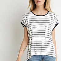 Striped Cap-Sleeve Tee