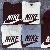 NIKE Fashion Print Hoodie Top Sweater Sweatshirt Coat White