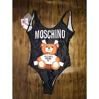 "Hot Sale ""Moschino"" Summer Beach Trending Women Cute Bear Prints Halter Vest Style Backless One Piece Bikini Swimsuit I"