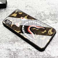 Bape Aape Fashion New Shark Camouflage Print Women Men Glass Case Phone Case Protective Case
