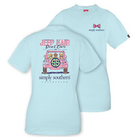 Jeep Hair Don't Care Tee in Light Blue by Simply Southern