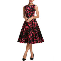 Women Summer Rose Print Retro Casual Party Robe Pinup Rockabilly