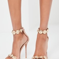 Missguided - Peace + Love Nude Embellished Strap Heeled Sandals