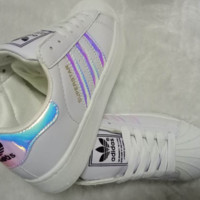 """Adidas"" Fashion Reflective Shell-toe Flats Sneakers Sport Shoes Laser PINK"