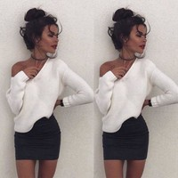 New Fashion Women Casual Long Sleeve Sweaters Pullover Loose Tops  Blouse Knitwear Autumn Winter Clothes