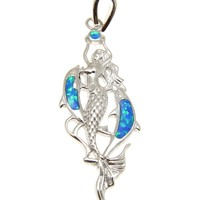 INLAY OPAL HAWAIIAN DOLPHIN STERLING SILVER 925 MERMAID PENDANT RHODIUM