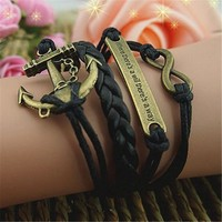 MagicPieces Anchor Braid Infinity 4 Layers Black Handmade MultiLayered Bracelet For Women's Teens Friendship Birthday Gift