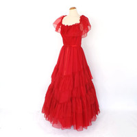 Vintage 1970s Rose Red Southern Belle Bridesmaid Prom Dress Chiffon Princess Gown Little Bo Beep Dress Victorian Gone with the Wind Dress