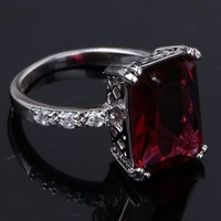 YAZILIND 1115mm Emerald Cut Red Created Ruby Spinel Silver Plated Size 10 Ring
