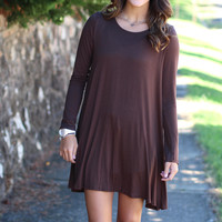 Basic Long Sleeve Dress {Brown}