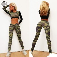 Fitness Tights Set Workout  Leggings Shirt Top Camo Sports Suit