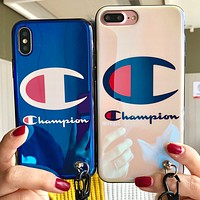 Champion IPhone7plus iPhone7plus phone set popular logo personality 6s full package soft iphonex couple hang rope 8.