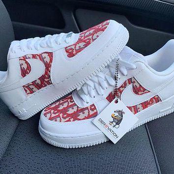 Onewel Nike Air Force 1 x Dior Print Contrast Shoes Women Men Trending Shoes White+Red