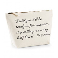 Marilyn Monroe Ready In Five Minutes Quote Canvas Makeup Bag