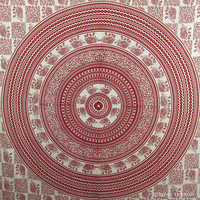 Red Indian Elephant Mandala Bohemian Tapestry Throw Wall Hanging Bed Cover