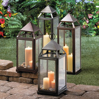 LARGE RUSTIC SILVER CONTEMPORARY LANTERN