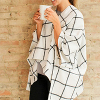 Addie Grid Cape - Winter White/Black
